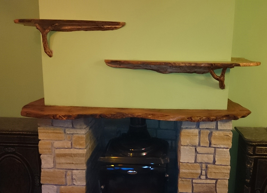 mantlepiece and shelves