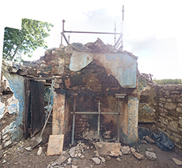 chimney breast with chimney demolished