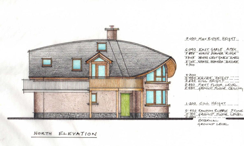 Wood House Elevation : Links mud and wood